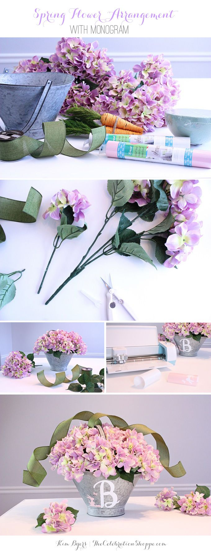 Hydrangea flower arrangement with monogram galvanized