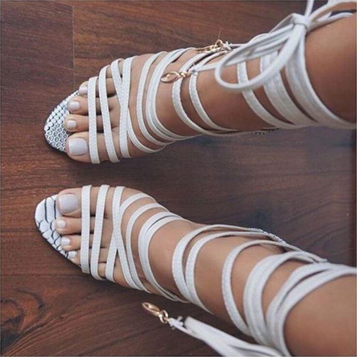 Shoespie White Wrap Up Sandals