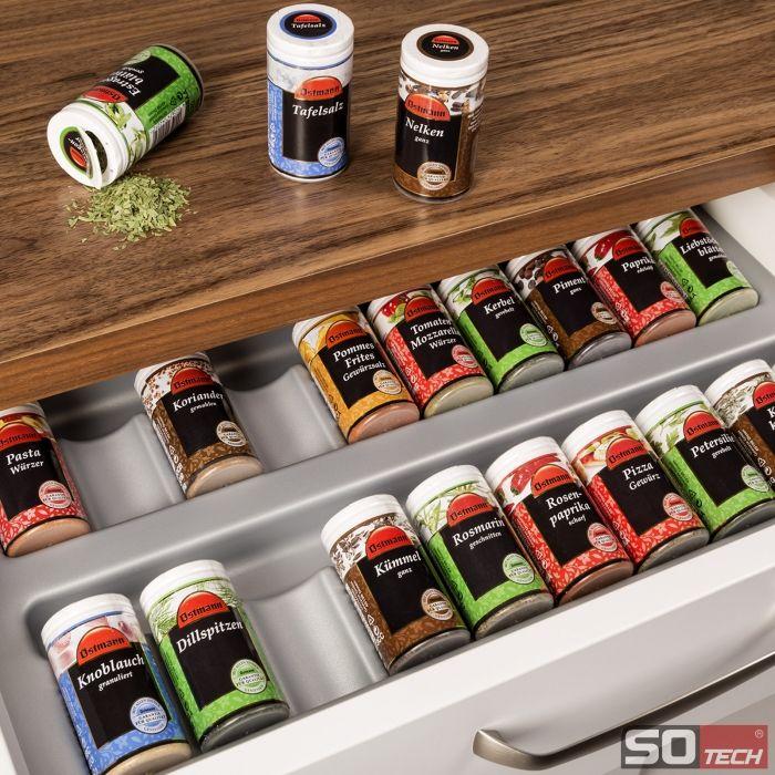 ORGA-BOX® Gewürzgläsereinsatz Gewürzdoseneinsatz silbergrau für 60er Korpusbreite