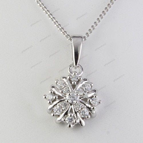 Free Pouch Round Cut D/VVS1 Diamond 14K White Gold Plated Women's Fancy Pendant #giftjewelry22 #Pendant