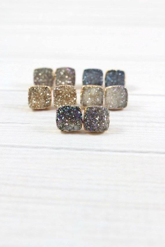 74b28c690 Druzy Stud Earrings, Druzy Gold Earrings, Druzy Studs, Druzy Earrings, Druzy  Sparkly
