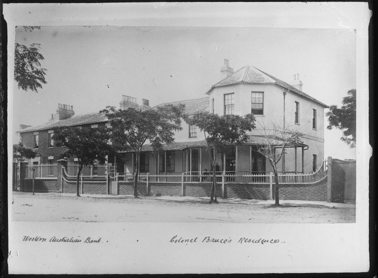 016703PD: Colonel Bruce's residence (right) and the Western Australian Bank, Perth, ca.1865.  http://purl.slwa.wa.gov.au/slwa_b2523155_1