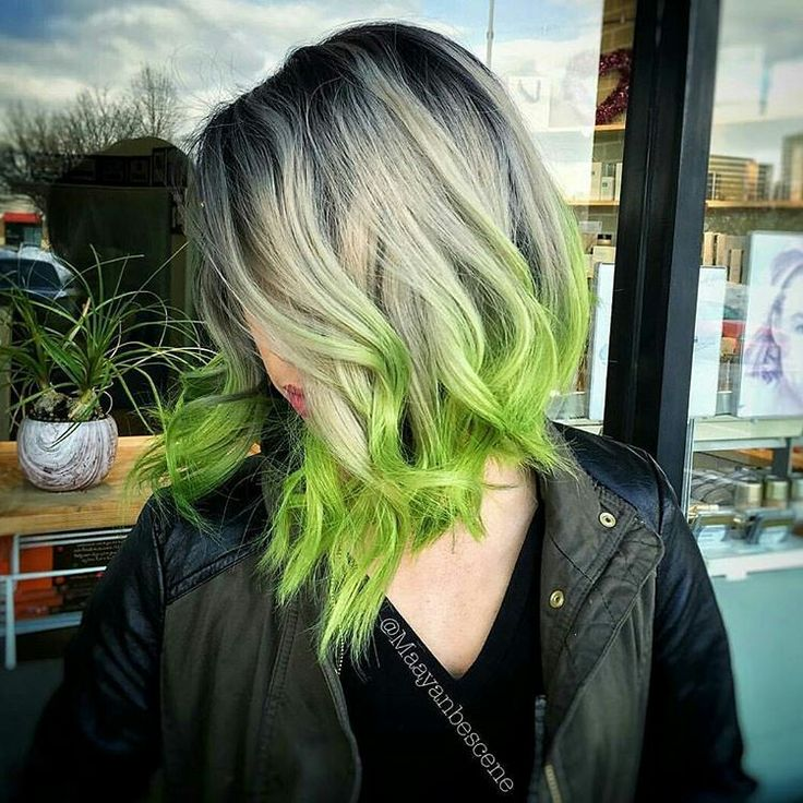 Grey and green hairs