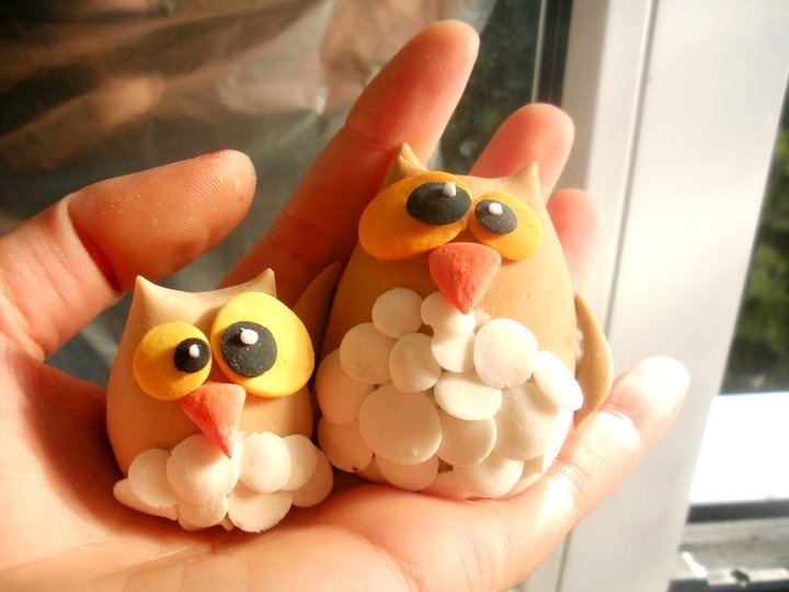 owls  fimo sculpey polymer clay