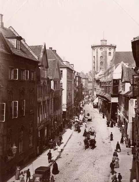 Vilhelm Trydes (P084)  Street in the city of Rundetaarn Kjobmagergade Denmark, circa 1880.