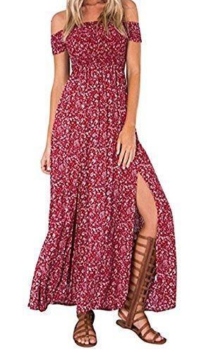 Oferta: 15.99€. Comprar Ofertas de KE1AIP Boho verano floral de hombro Beachwear primavera partido vestido de fiesta vestido de deslizamiento lateral (XXL, Red2 barato. ¡Mira las ofertas!