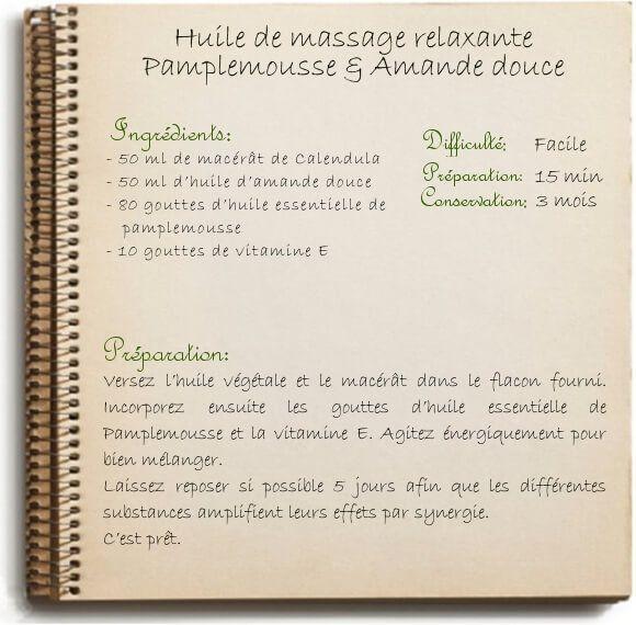 Recette huile de massage décontractante et relaxante (pour les muscles)