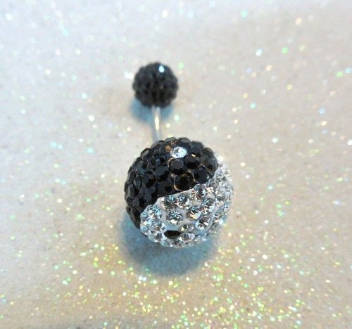 Bellybutton ring with black and clear crystals w Yin Yang design 16ga   YOUniqueDZigns - Jewelry on ArtFire
