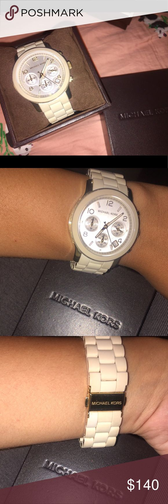 Michael Kors Watch Cute gold and off white Michael Kors watch. Only worn a handful of times. Comes in original box. Needs new battery. Make me an offer! Michael Kors Accessories Watches