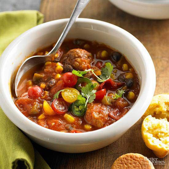 Bookmark this quick weeknight meal. Refrigerated meatballs, frozen mixed veggies, quick-chopped tomatoes, and spices are all you need for a family-pleasing chili dinner in 25 minutes.