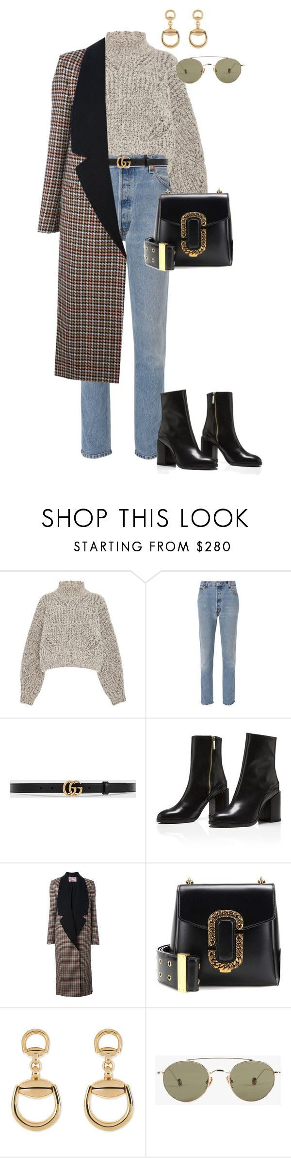 """""""Untitled #4425"""" by lily-tubman ❤ liked on Polyvore featuring Isabel Marant, RE/DONE, Gucci, Lanvin, Marc Jacobs and Ahlem"""
