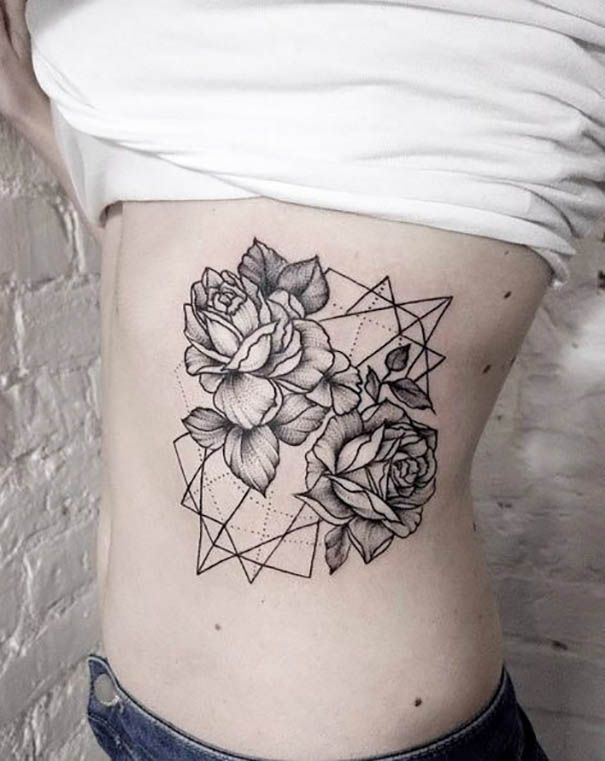 geometric tattoo on rib
