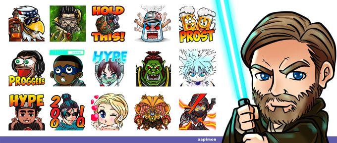 I Will Create Unique Twitch Emotes Or Sub Badges Badge Twitch Illustration Design