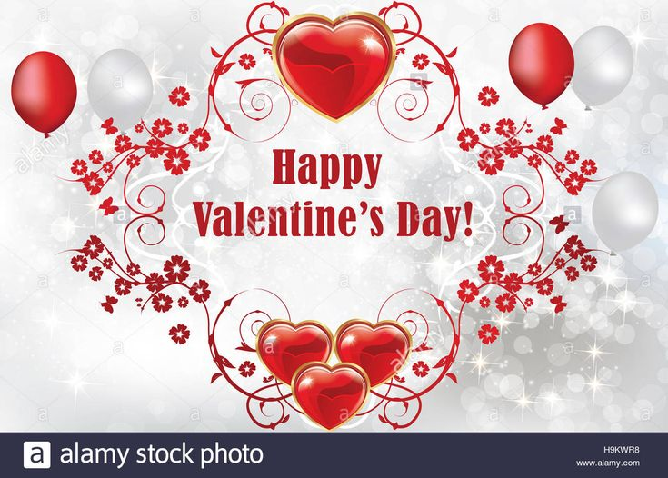 Download this stock image: Valentine's Day greeting card with hearts and balloons. Print colors used. Copy space for your text. Floral decorative elements. - H9KWR8 from Alamy's library of millions of high resolution stock photos, illustrations and vectors.