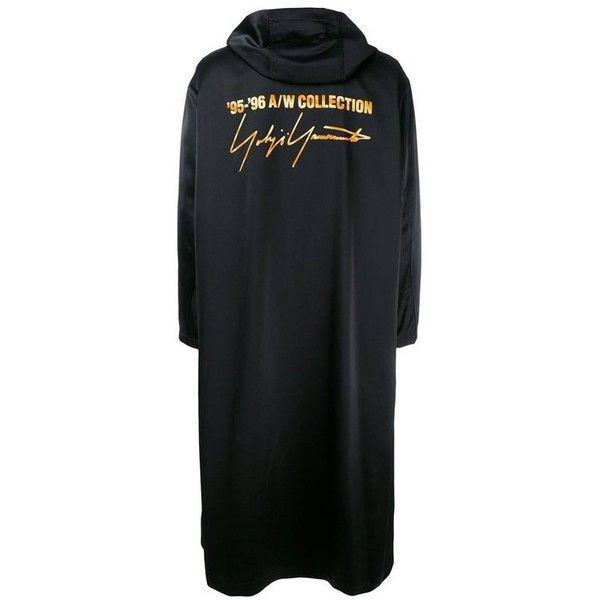 Preowned Fall / Winter 1994/95 Runway Staff Uniform Coat ($7,894) ❤ liked on Polyvore featuring outerwear, coats, black, yohji yamamoto coat, long hooded coat, hooded coat, yohji yamamoto and leather-sleeve coats