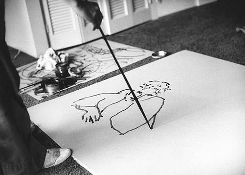 David Hockney drawing Celia Birtwell's portrait on a lithograph plate at his Hollywood residence, 1981