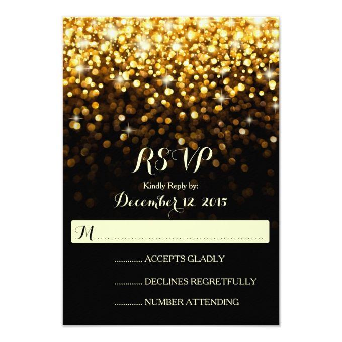 4483 best gold wedding invitations images on pinterest gold gold black hollywood glitz glam wedding rsvp stopboris Image collections