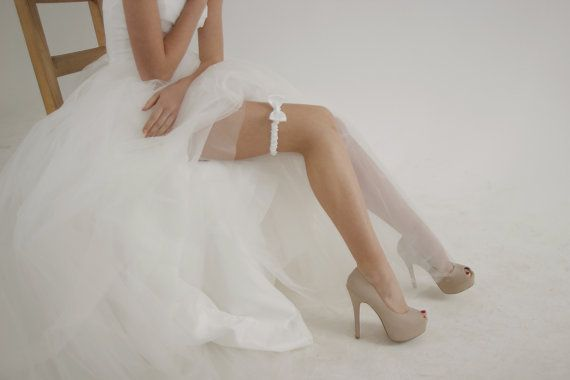 So Cute Ivory bow satin wedding garter ivory by HoneyPieBridal