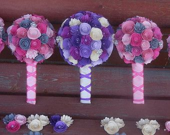 Small Handmade Paper Wedding Bouquet Fower Girl or Toss Bouquet ANY Colors Free matching Boutonniere Shades of Purple, Shades of Pink,Gray