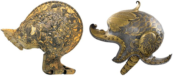 The Art of Power (right) Kolman Helmschmid, German, c. 1470–1532, Helmet (Burgonet) of Emperor Charles V, Augsburg, c. 1530, etched, embossed, and gold-damascened steel; fabric and leather, Patrimonio Nacional, Real Armería, Madrid
