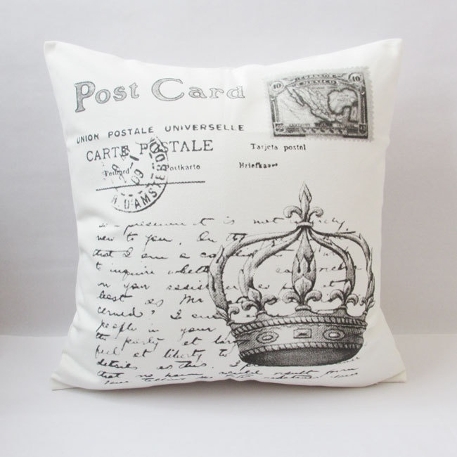 "1 cotton canvas crown stamp and words printed white decoratvie pillow cover / cushion case 18"". $22.00, via Etsy.: Canvas Crowns, Style, Cotton Canvas, Cotton Linen"