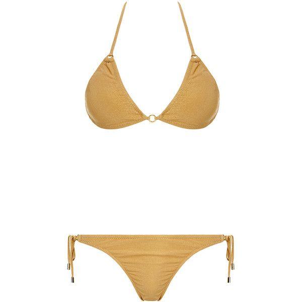Melissa Odabash Monte Carlo Metallic Triangle Bikini (420 PLN) ❤ liked on Polyvore featuring swimwear, bikinis, animal print, bikini swimwear, halter bikini, halter neck bikini top, triangle bikini and bikini top