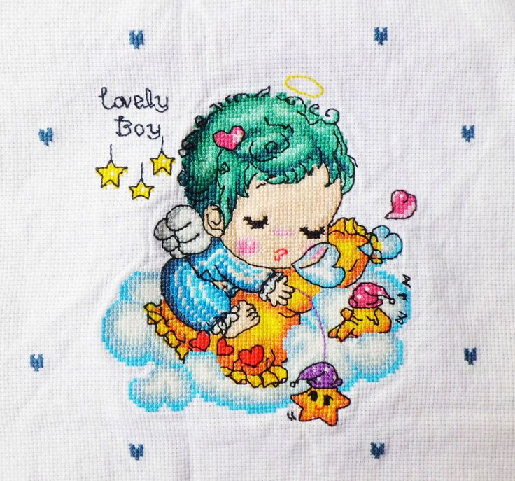 New Completed/Finished Cross Stitch Sleeping Baby Boy Image Size:9.4*9.4inch