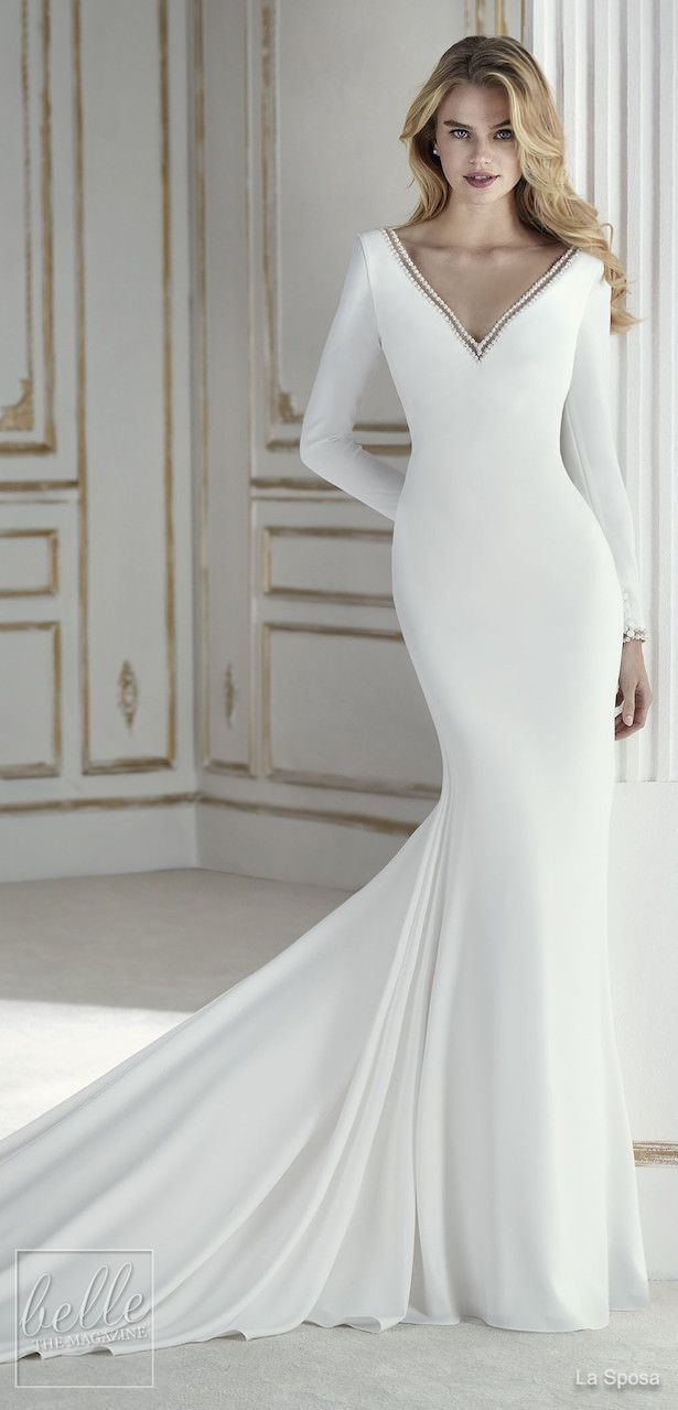 Simple Wedding Dresses Inspired By Meghan Markle Long Sleeve Deep V Wedding Dress By La Sposa Long Sleeve Wedding Dress Simple Wedding Dresses Ball Dresses [ 1279 x 615 Pixel ]