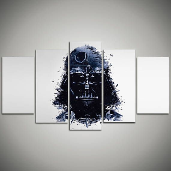Darth Vader print - Kids room decor Star Wars Canvas - Multi Panel Ready To Hang Canvas Print Giclée - gift for children - movie wall art…