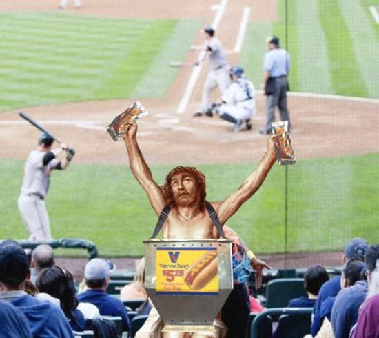 Jesus doing every day things  Jesus making a little extra money selling hot dogs at the old ball game!