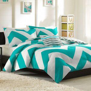 Reversible 4 PC Blue Grey White Teal Chevron Stripe Soft Comforter Set New   eBay