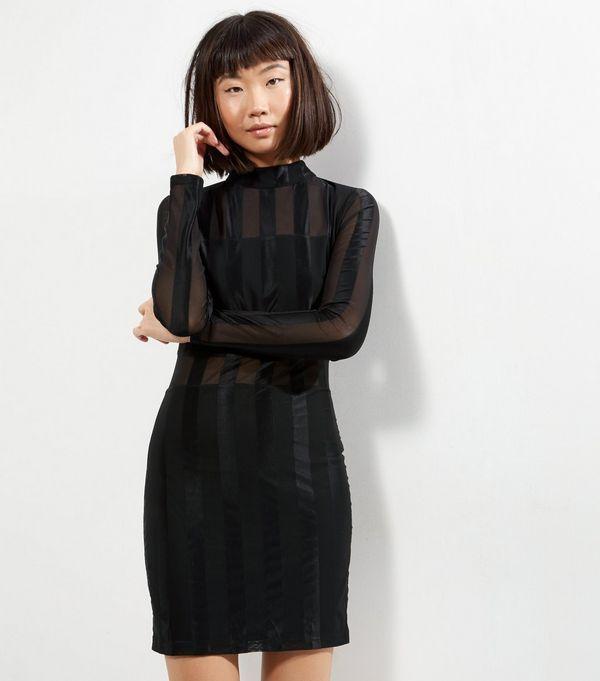 Parisian Black Funnel Neck Mesh Stripe Bodycon Dress | New Look