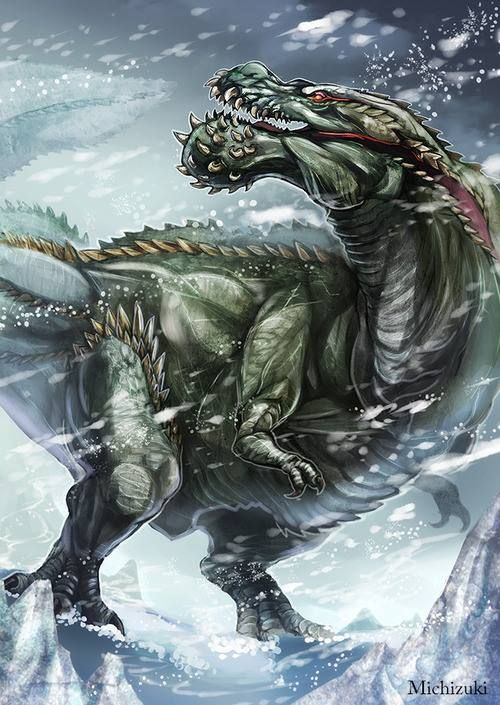This monster is called a Deviljho, it is one of the top predators from the monster hunter series. When a deviljho attacks it is extremely fast, and never stops attacking so the player must think fast it breathes dragon element from its mouth which shreds armour and hurts a lot.