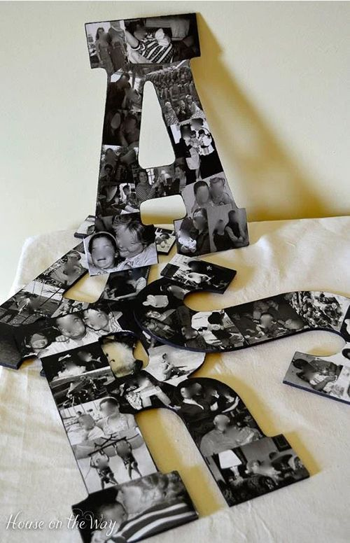 Diy Photo Collage Letters Wall Decor Crafts Home Decor Letters Filled With Family Photos Make A Great Keepsake
