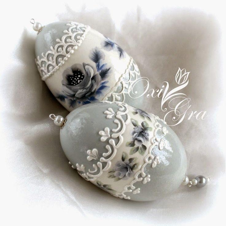 #OxiGra #hand #painted #goose #eggs #ręcznie #malowane #pisanki #ornamenty #koronki #reliefy
