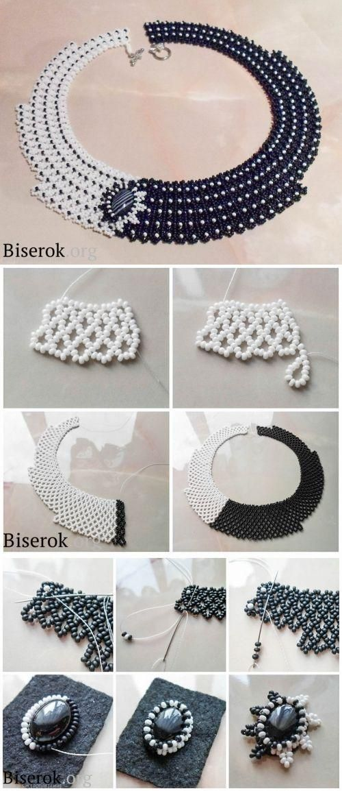 How to make a black and white beaded necklace