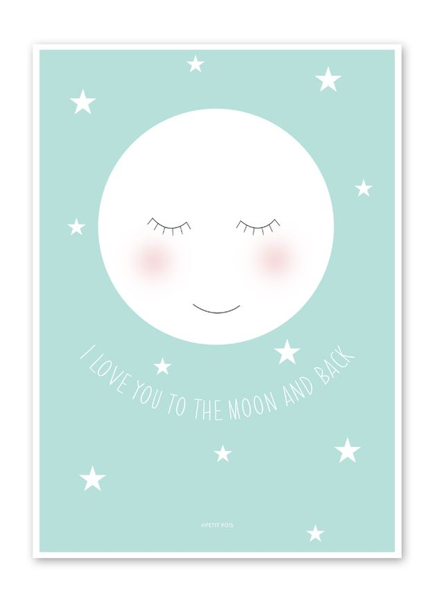 Wandgestaltung - Mond Bild / Poster für das Kinderzimmer DIN A4 - ein Designerstück von petit_pois bei DaWanda