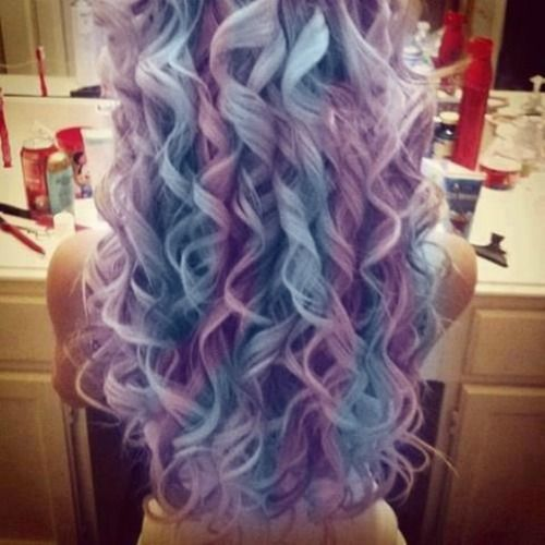 Lavender and baby blue hair, love the curls too.