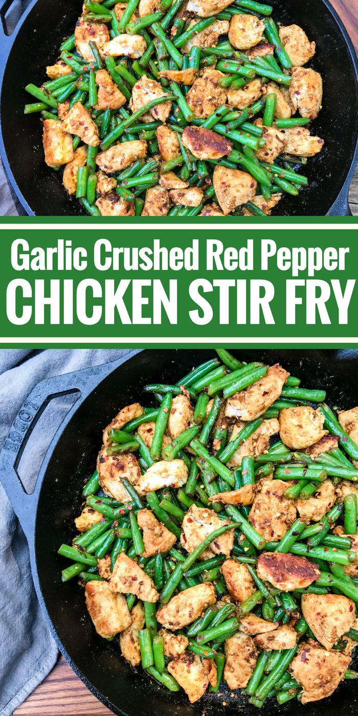 This Garlic Crushed Red Pepper Chicken Stir Fry is full of big flavors and spice. It's a satisfying dinner all in one pan plus it's Whole30 and gluten free!