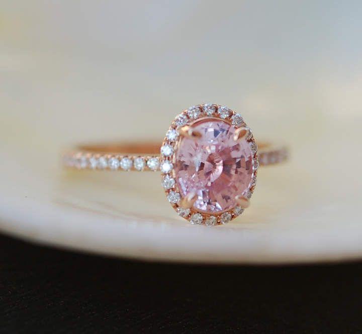 Etsy Peach Sapphire Ring, Peach Sapphire Engagement #Ring, Peach Pink Sapphire Ring, Oval Cut Engagement #ad