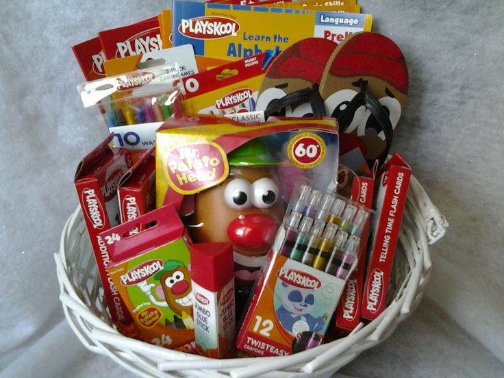 One made to order Playskool Gift Basket. A fun unique gift idea for someone young and eager to learn.  **The basket contains workbooks,crayons,coloring books,markers, mr potatoe head, flip flops,flash cards etc..  ***items may be different from one order to another due to availability of item...