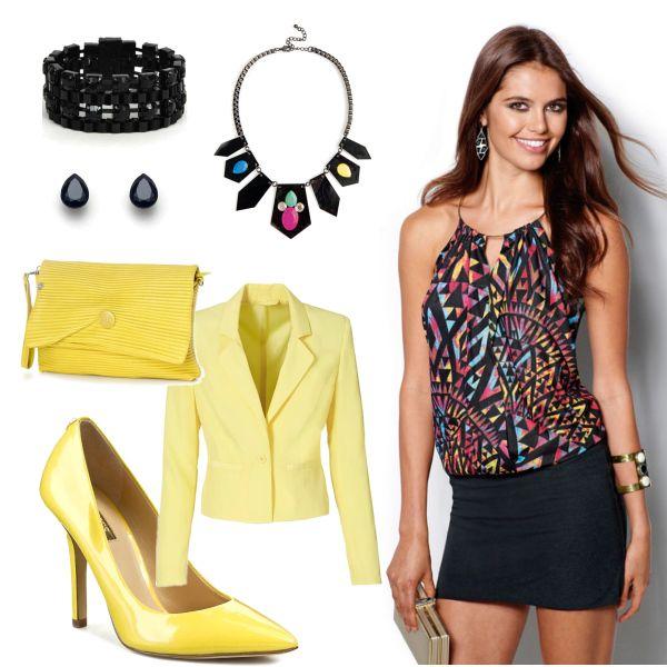 Žluto černé doplňky! #dress #fashion #colours #trends #short #šaty #móda #barvy