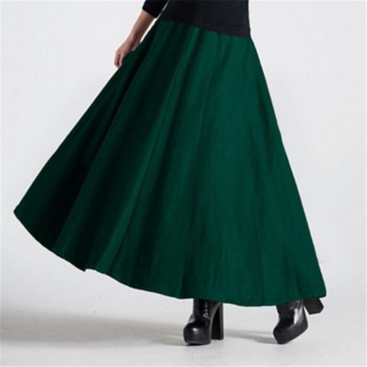 Новый зима женщины макси юбка мода шерстяные юбки женский высокая талия теплые тонкий широкий зима длинная юбка сплошной цвет женский C1208