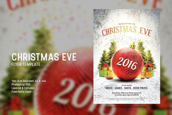 Christmas Eve flyer template suitable to promote your Christmas party or any Christmas events.Attractive design and everything are editable, this template is very easy to use.Available now at CreativeMarket http://crtv.mk/j0QPg #flyer #template #photoshop #CreativeMarket