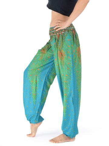 Pantalon bouffant imprimé plume de paon
