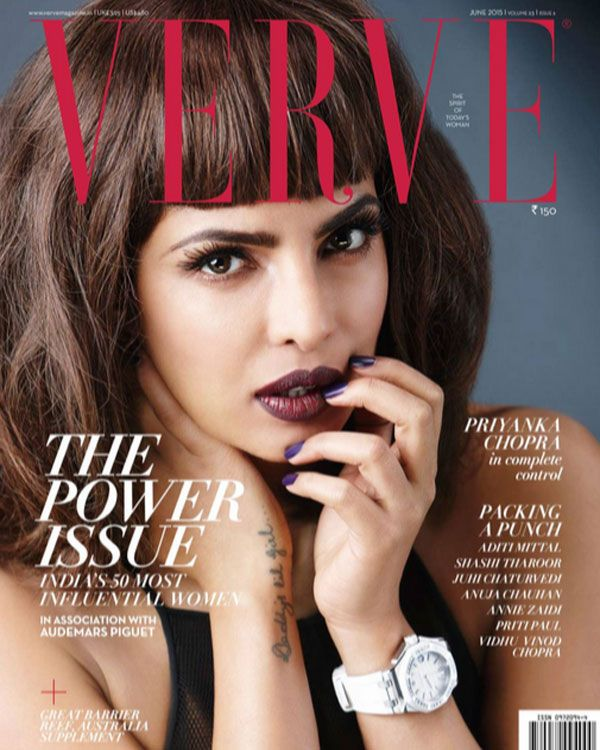 The multi-talented actress, model and international popstar, our very own Priyanka Chopra features on the June edition cover of the popular fashion magazine The Verve India sporting a rather cool hairstyle!  We couldn't be more proud of you Priyanka! :D  For more pictures- https://www.facebook.com/JabongWorld/posts/1005602222784590  For the Teaser: Verve's Power Issue 2015, visit this link- https://www.youtube.com/watch?v=kIA0E31yngs