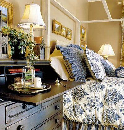 khaki and blue guest room