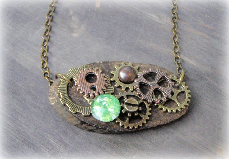 Steampunk wood pendant, steampunk necklace, earthy pendant, unique handmade necklace, unique gift by PrettyClaire on Etsy
