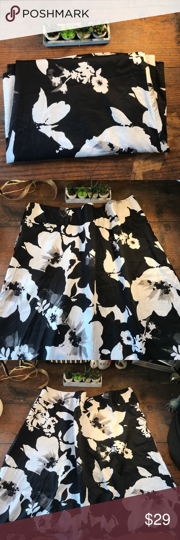 "Addition Elle. SIZE 22 Black and White Floral Addition Elle. SIZE 22 Black and White Floral. Waist=46"", Length = 29"". Addition Elle Skirts A-Line or Full"