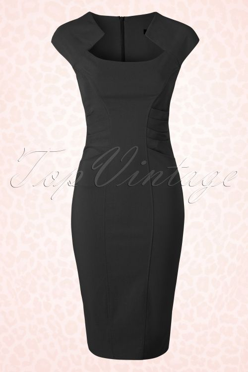 Vintage Chic Black Classy Pencil Dress 100 40 15326 1
